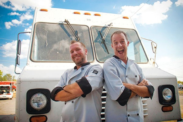 Brandon McKelvey, Jason Paschall, and the Say-She-Ate mobile food truck. - PHOTO BY BILL MCKELVEY, BRANDON MCKELVEY