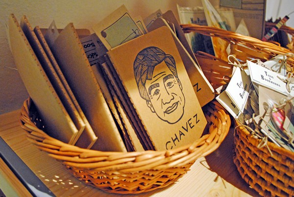 Cesar Chavez notebooks from last year's Hecho a Mano Holiday Festival - STEPHEN GUZMAN