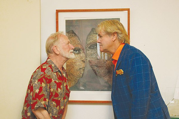 "Character study: Dennis Olsen and Gary Sweeney reenact one of the prints in ""Flash Fictions"" - MEREDITH DEAN"