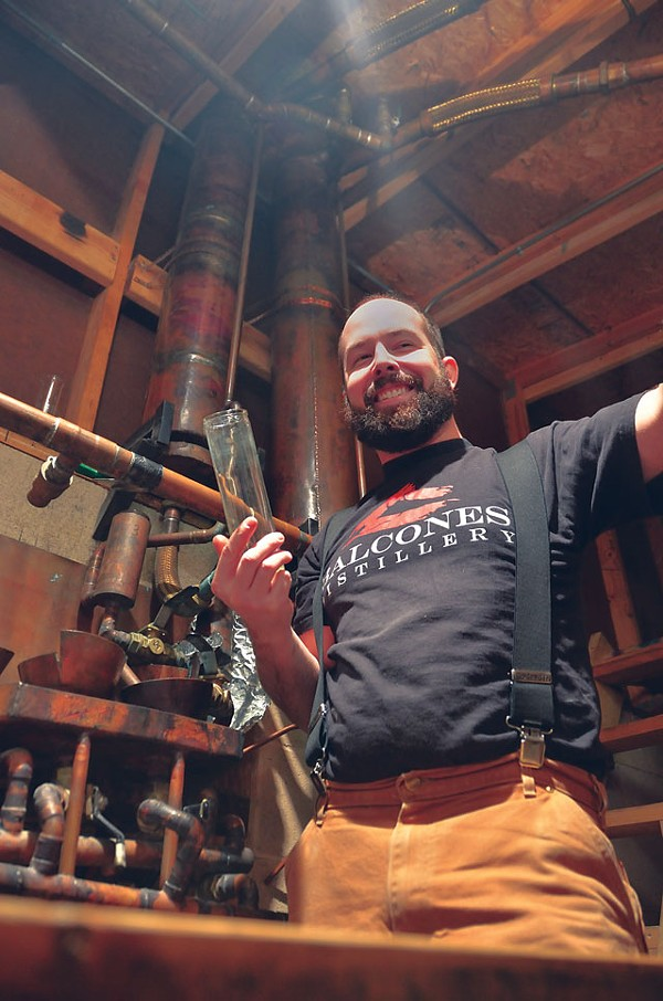 Chip Tate and his hand built condenser. - PHOTO BY SCOTT ANDREWS