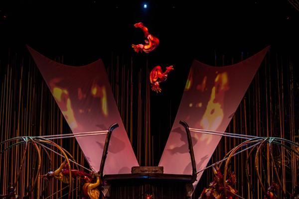 Cirque du Soleil's Russian Swing Flyers toss and tumble in Varekai coming to Freeman Coliseum. - PHOTO: MARTIN GIRARD / SHOOTSTUDIO.CA COSTUMES: EIKO ISHIOKA © 2014 CIRQUE DU SOLEIL