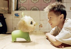 CJ7 and Xu Jiao have a staring contest over who's cuter.