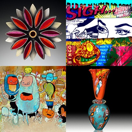 Clockwise from top left: works by Fiesta Arts Fair artists Michele Friedman, Rick Abrams, Chris Vance and Steve Palmer.