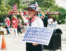 Conservative Christians gathered Saturday at Main Plaza, claiming religious freedom is under attack