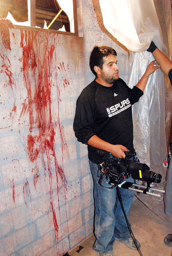 Director Daniel Maldonado on the set of The Killing Strain.