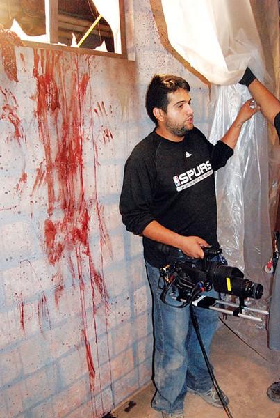 Director Daniel Maldonado on the set of The Killing Strain.