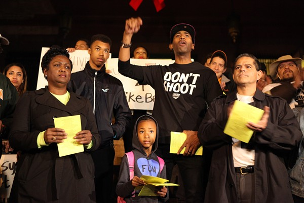 On Tuesday, November 25, 2104, dozens gathered at the Bexar County Courthouse to protest the grand jury decision to not indict Officer Darren Wilson for the shooting death of Michael Brown. - LINDA ROMERO