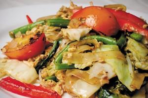 Drunken noodles with minced chicken, veggies, and basil from Thai Corner.