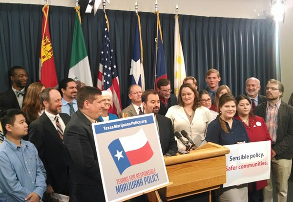 At a press conference in Austin, Texas State Representative Joe Moody (D-El Paso) unveiled a bill that eases penalties for small-time marijuana convictions. - MARIJUANA POLICY PROJECT
