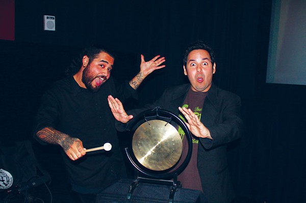 Eric López (winner of the first round) and Gong Shorts host Jade Esteban Estrada. - COURTESY PHOTO