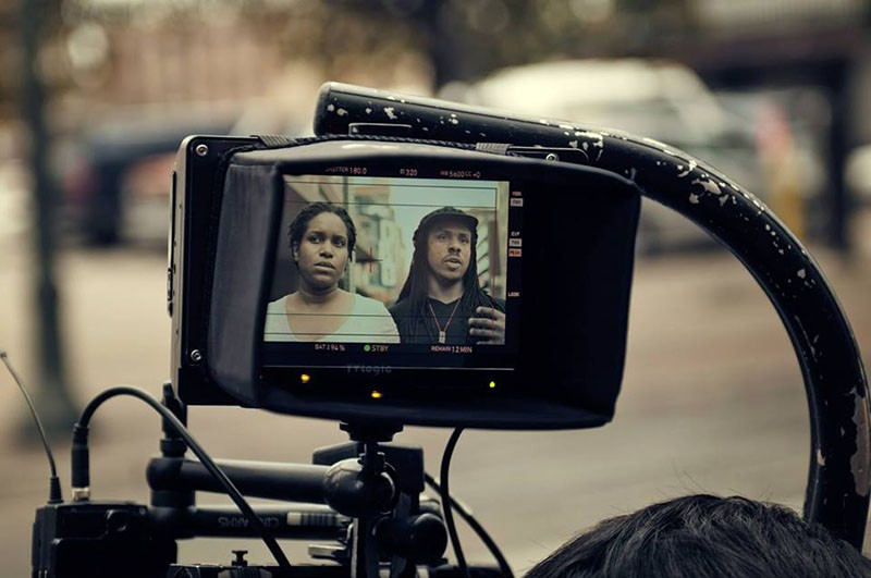 Director Ya'Ke Smith and his wife Mikala Gibson on the set of Dawn. - COURTESY