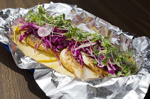 Fish tacos meet a bright dose of veggies at Amaya's Tacos. - SARA LUNA ELLIS