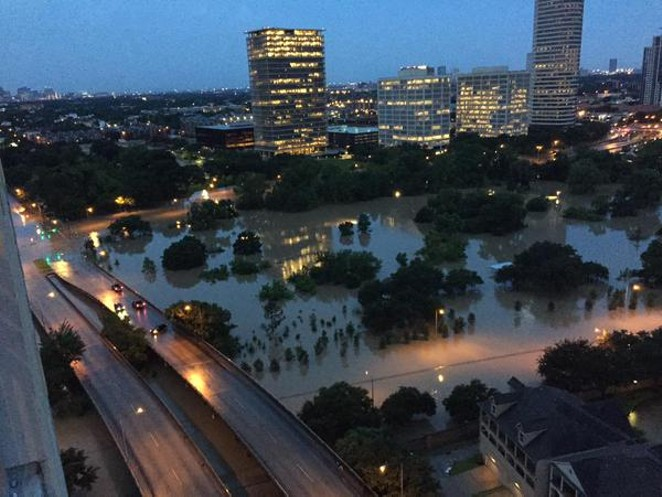 Flooding in Houston at Allen Parkway at Montrose. - VIA TWITTER USER @BILLBISHOPKHOU