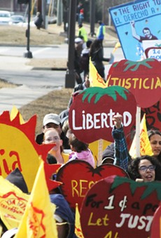 Protesters accuse Wendy's of supporting modern day slavery though the company's inaction on ensuring humane conditions and wage for its farmworkers.