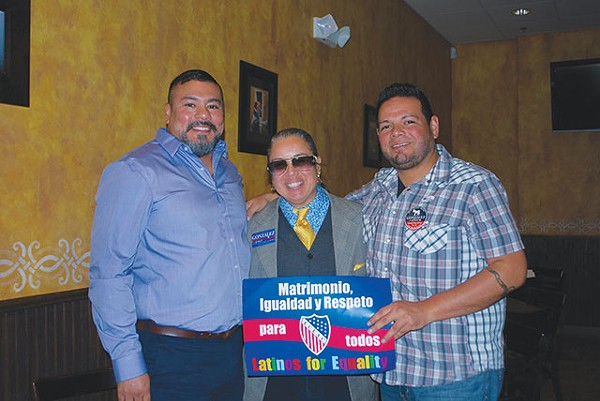 """Founding members Sam Aguilera and Robert Salcido with first member Rosa Maria """"Rosie"""" Gonzalez at LGBT LULAC's first recruiting event - COURTESY PHOTO"""
