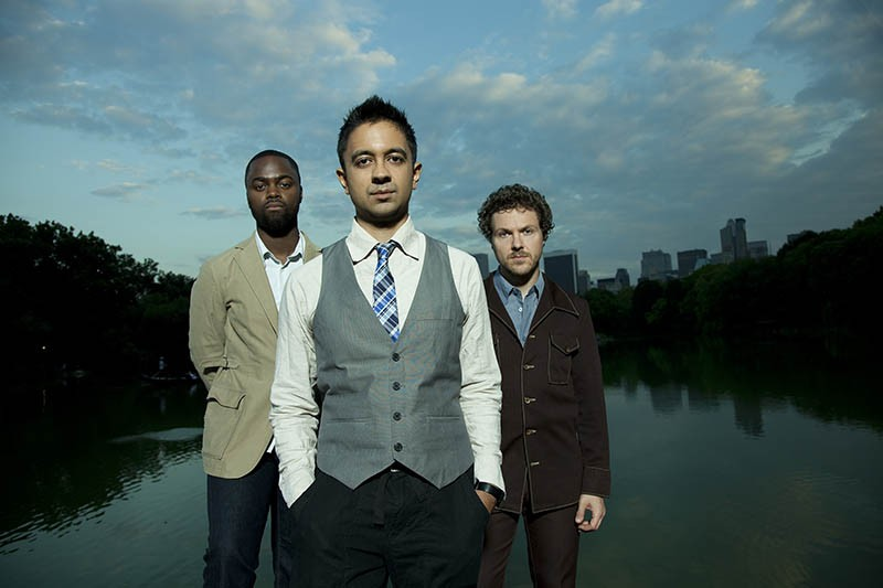 From left to right: drummer Marcus Gilmore, pianist Vijay Iyer and bassist Stephan Crump - JIMMY KATZ