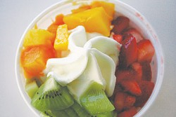 Frozen yogurt with kiwi, mango, and strawberries from OrangeCup.