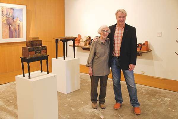 Gary Sweeney (right) and storyteller, lead solderer and wood carver Marilyn Lanfear - COURTESY PHOTO