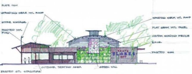 A architectural rendering of H-E-B's planned downtown location. - LAKE FLATO ARCHITECTS