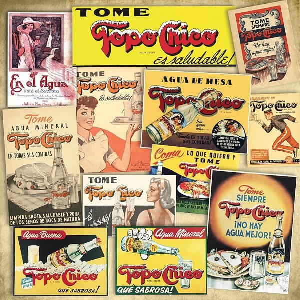 A spread of Topo's vintage advertising - VIA TOPO CHICO