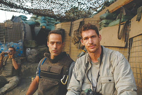 Hetherington (R) in the lion's den with Junger - COURTESY PHOTO