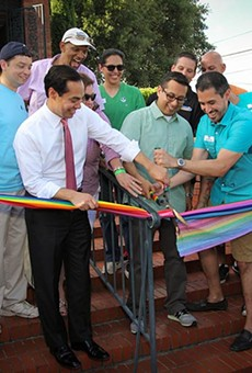 Former Mayor Julián Castro, Councilman Diego Bernal and Pride Center board chair Richard Farias joined Equality Texas field organizer Robert Salcido and others to cut the ribbon at the New PRIDE Center office in June.