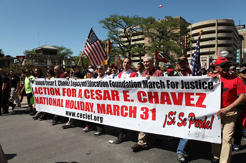 Hundreds of San Antonio activists took to downtown streets to celebrate the life and work of César Chávez, including a push to make his birthday a federally recognized national holiday. - LINDA ROMERO