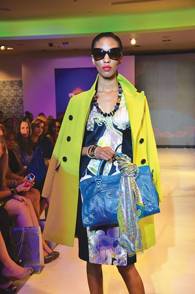 Illustrating the digital print trend for Fall 2012 at Neiman Marcus, Raven Forrester models a dress by Etro, a jacket by Trina Turk, and a bag by Balenciaga. - PHOTOS BY BRYAN RINDFUSS