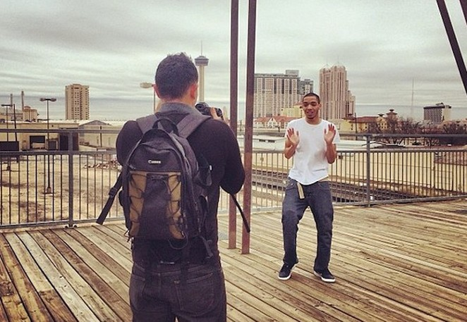 """Internet famous R&B rapper IceJJFish filming a video for """"On the Floor"""" on the Hays Street Bridge. - COURTESY"""