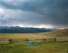 Irrigator's Tarp Directing Water, Fourth of July Creek, Custer County, Idaho, 2004