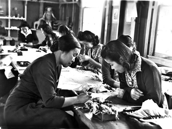 Japanese women working at Crystal City Internment Camp - COURTESY