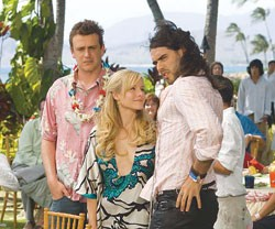 """Jason Segel (left) wishes Russell Brand (right) didn't want to """"do something"""" to his ex-girlfriend, Kristen Bell (center)."""