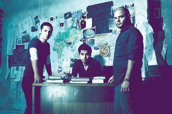 """Jorge González, Alex Scheel, and George Garza on the set of Sanitarium, a local film directed by Bryan Ramírez, Kerry Valderrama, and Bryan Ortiz. """"Who Needs Forever"""" (from the Disappearing Edges EP) will be featured in the movie. - ALVIN ALDERETE"""