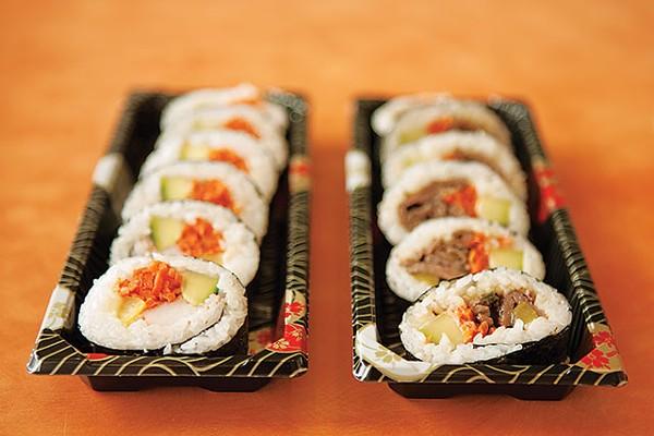 Kimpop rice rolls with GochuGogi (L) and Kogi (R) - ANA AGUIRRE
