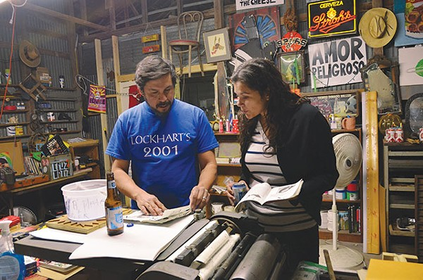 Leslie Moody Castro (right) visits SA-based artist Cruz Ortiz in his studio - CHRIS SAUTER