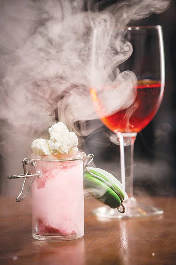 Literally cloudy: Prickly pear sorbet, lime leaf cream mousse and liquid nitrogen - CASEY HOWELL