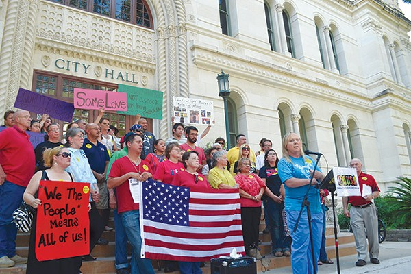 Local and state LGBT activists in front of City Hall during the NDO debates last year - MARY TUMA
