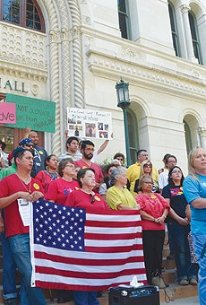 Local and state LGBT activists in front of City Hall during the NDO debates last year