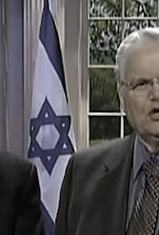 "Local protesters crash mega-church pastor John Hagee's ""honor to Israel"" sermon"