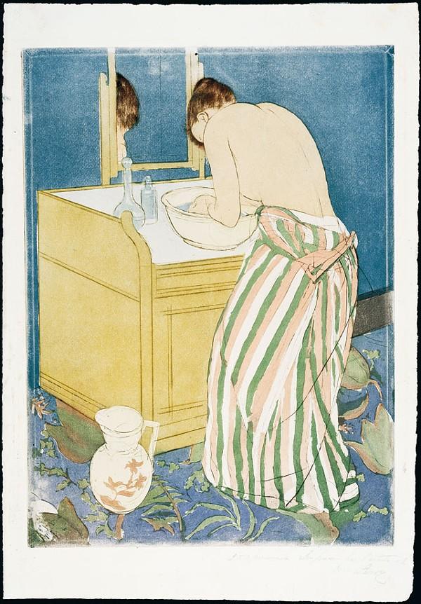 Mary Cassatt (American, 1845-1926), Woman Bathing (The Toilette), ca.1891,Drypoint and aquatint, gift of Margaret Batts Tobin, 1979.4
