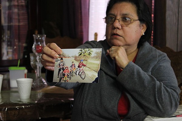 Mary Flores recalls happier times during her 38 years at Mission Trails mobile home park. Only a handful of families remain there now. - ADRIANA RUIZ