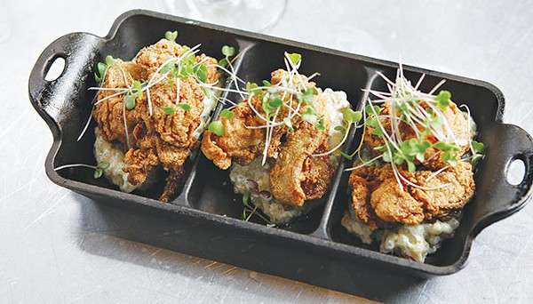 Masa flash-fried oysters served atop pickled tapioca - WWW.PAYTONPHOTOGRAPHY.COM
