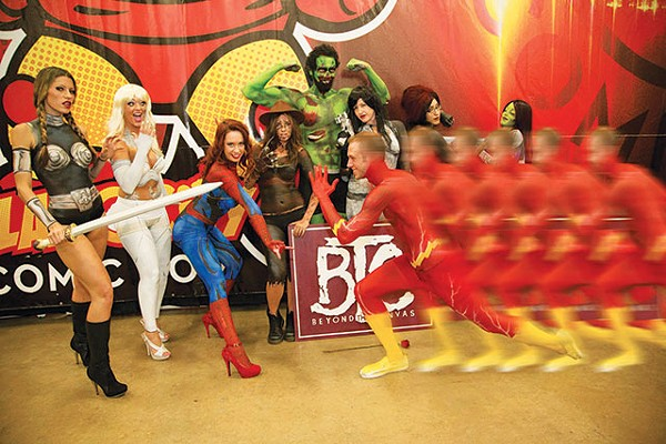 Members of the Beyond the Canvas crew strike a pose at Alamo City Comic Con - JMAC PHOTOS