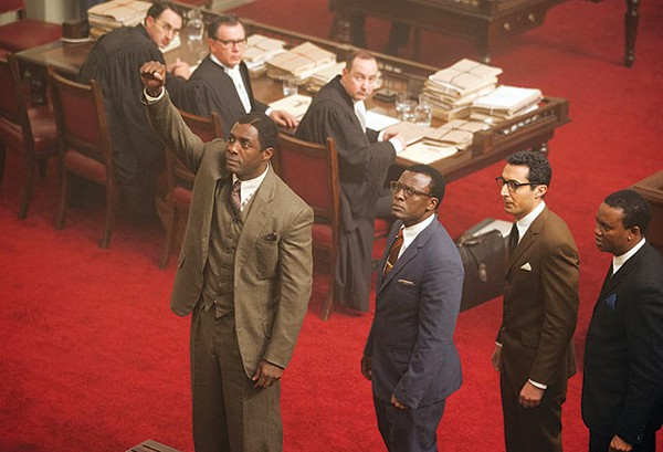 Nelson Mandela (Idris Elba, left) and other ANC defendants portray the 1963-64 Rivonia trial in 'Mandela: Long Walk to Freedom.' - COURTESY PHOTO