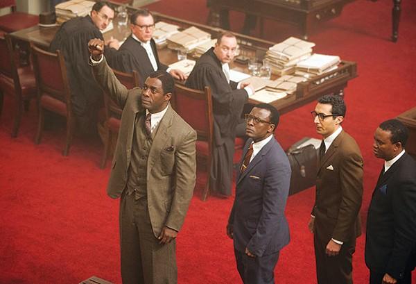 Nelson Mandela (Idris Elba, left) and other ANC defendants portray the 1963-64 Rivonia trial in 'Mandela: Long Walk to Freedom.' - COURTESY PHOTO