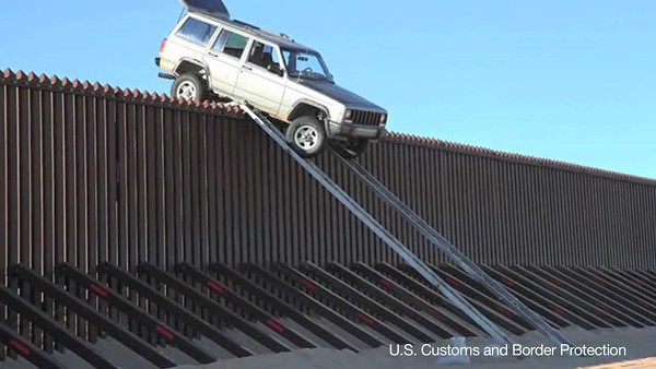 Texas officials are hoping increased law enforcement presence on the border is stopping drug smugglers in their tracks. These smugglers, however, stopped their own smuggling attempt in Southern California when they tried to drive a jeep over the border fence. - CBP