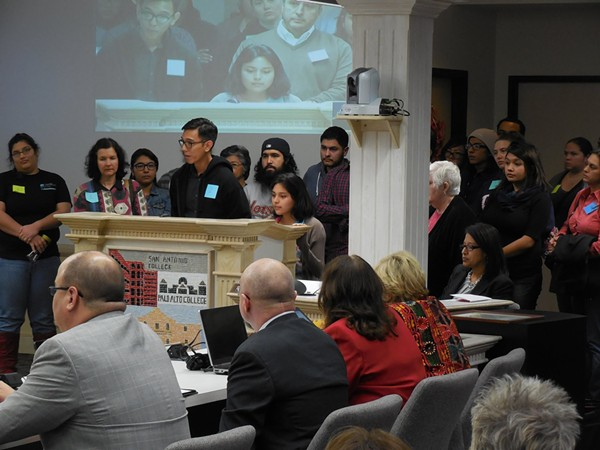 During a March Board of Trustees meeting, members of the Alamo Colleges Student Leadership Coalition called on Chancellor Bruce Leslie to resign. - ALAMO COLLEGES STUDENT LEADERSHIP COALITION