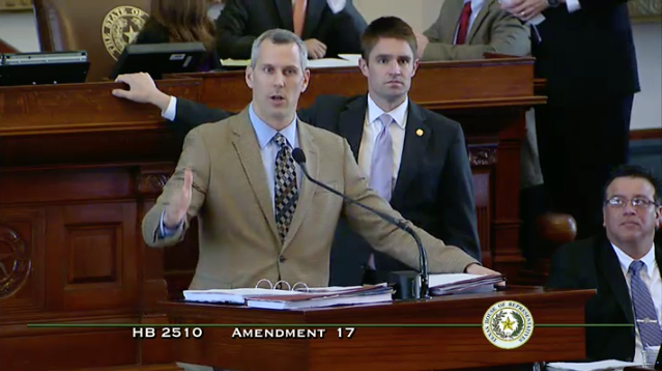 Rep. Matt Schaefer (R-Tyler) hijacked a bill that meant to improve operations at the Department of State Health Services with an amendment banning abortions after 20 weeks in fetuses with genetic abnormalities. The amendment passed despite objections from the bill's Republican author. - NARAL PRO-CHOICE TEXAS