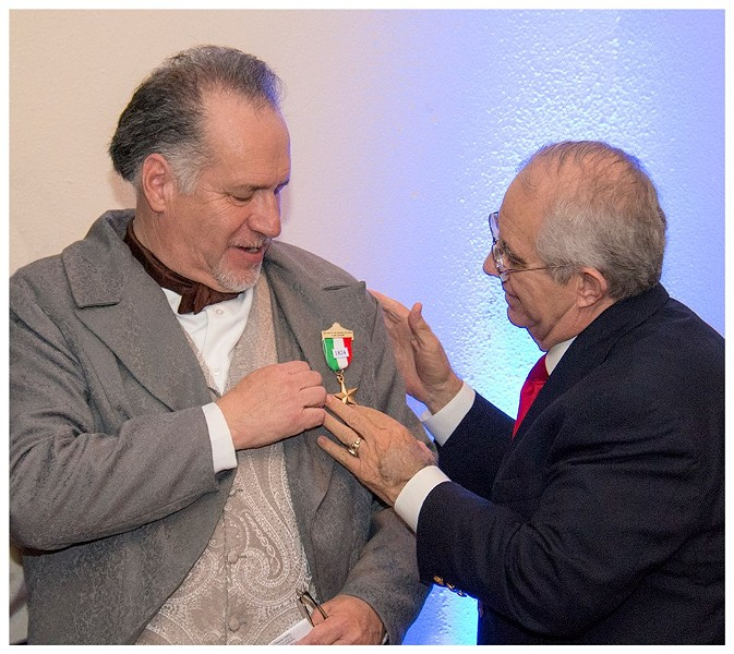 Joe Arciniega receives a medal from the Son's of the Republic of Texas after he gave a historical dramatization of his great-great-great-great grandfather Jose Miguel de Arciniega, who was twice mayor of San Antonio and helped found Bastrop. - JOE ARCINIEGA