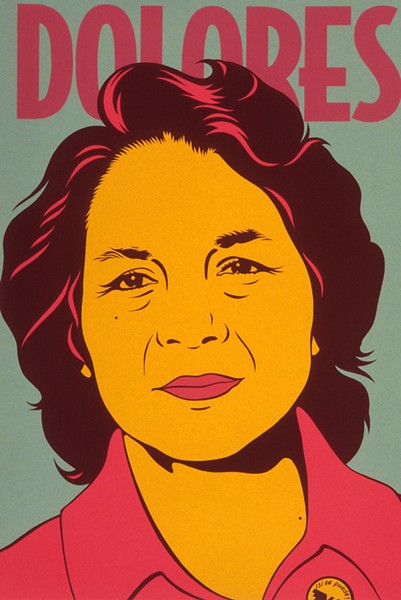 """DOLORES HUERTA"" BY BARBARA CARRASCO, SILKSCREEN, 1999, NATIONAL PORTRAIT GALLERY, SMITHSONIAN INSTITUTION, © 1999 BARBARA CARRASCO"